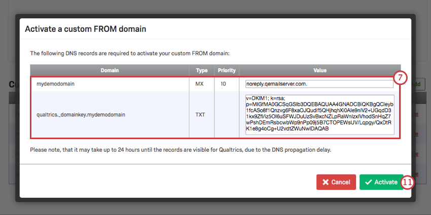 Custom from domain window shows the domain info and dkim info, labeled as txt