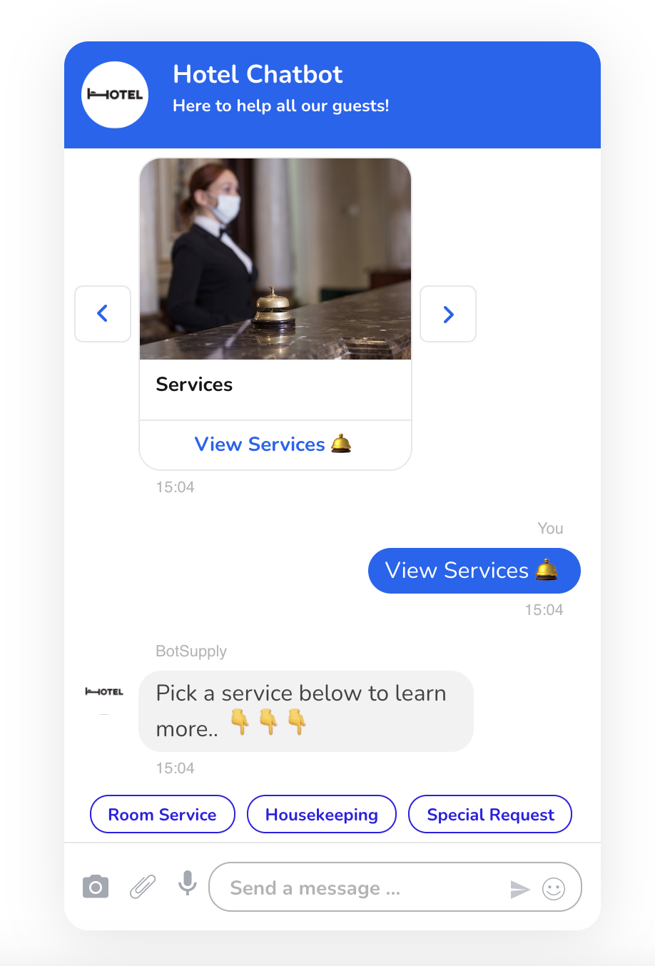 In the image the bot displays a carousel of the hotel's services and allows the guest to learn more on those.