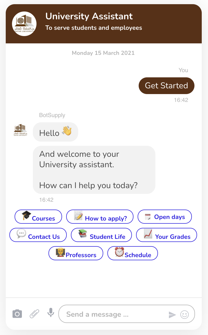 The image shows the Main Menu of BotSupply's University Chatbot where users can choose what to learn more of.