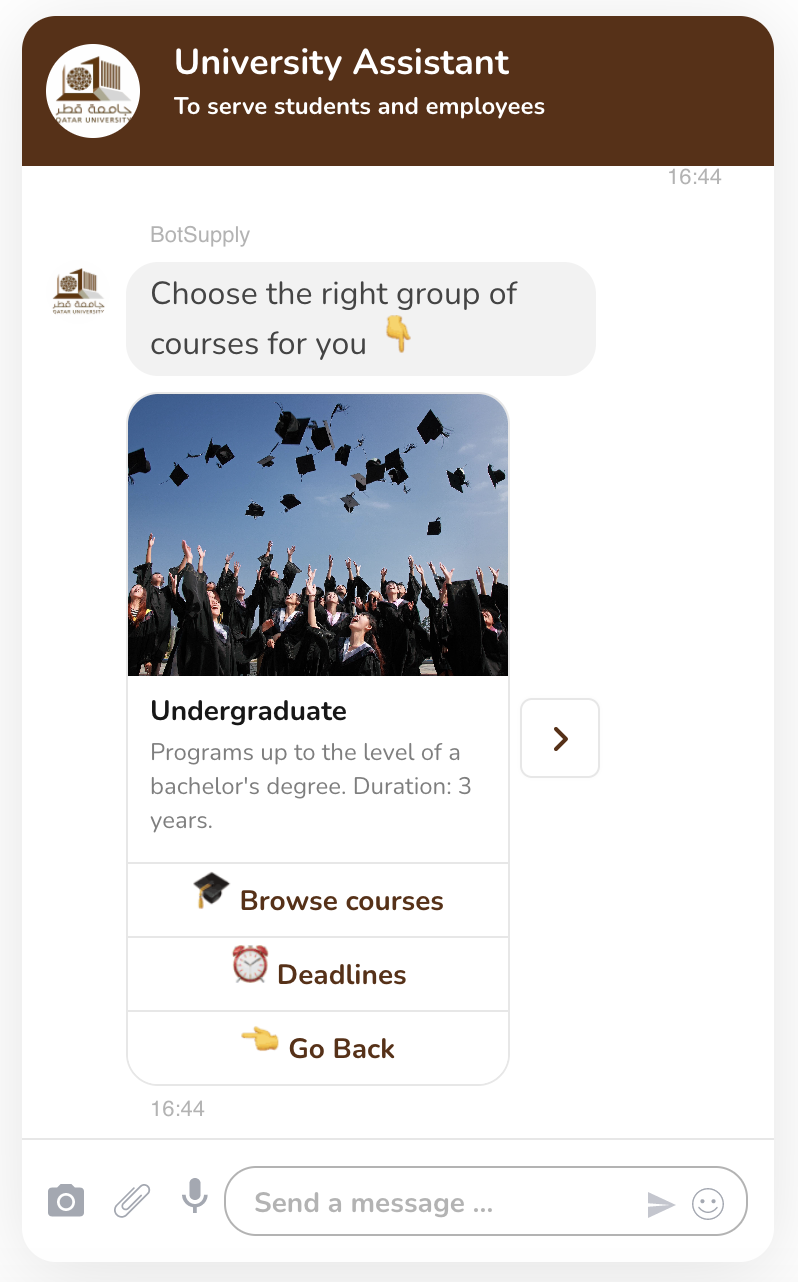 In the picture it's shown how the bot can display your university's courses and look at their details and deadlines.