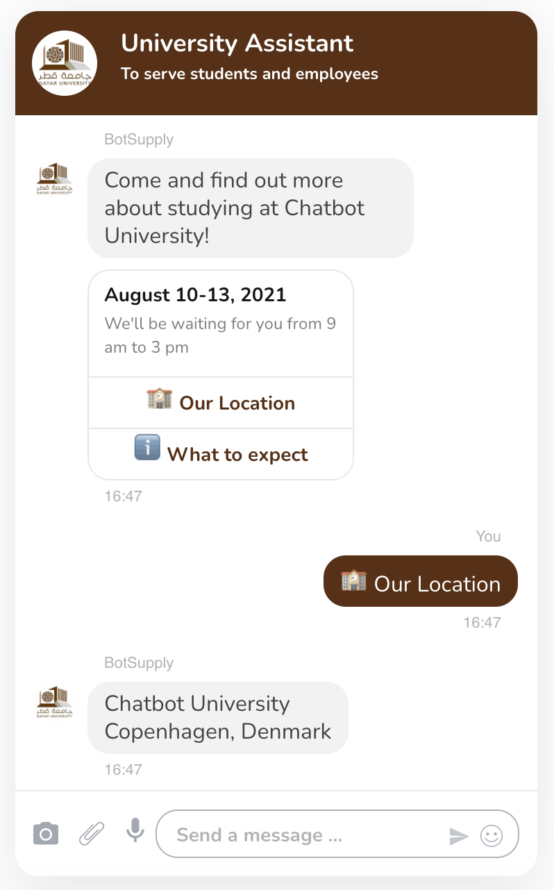 The chatbot is able to dispense specific information on the location, date and overview of your institution's Open Days as shown in the picture.