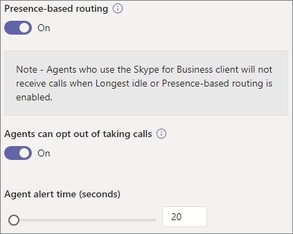 Screenshot of routing, opt out, and alert time settings