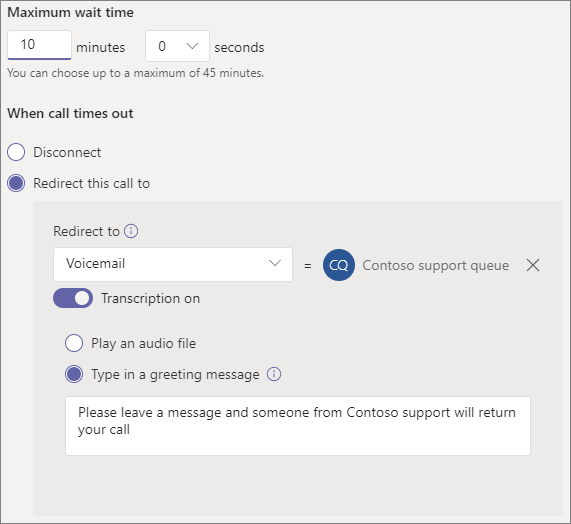 Screenshot of call timeout settings