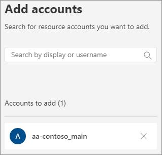 Screenshot of resource account add accounts panel