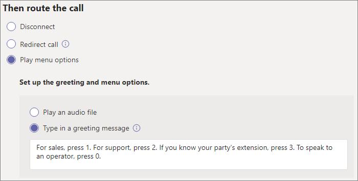 Screenshot of call routing settings