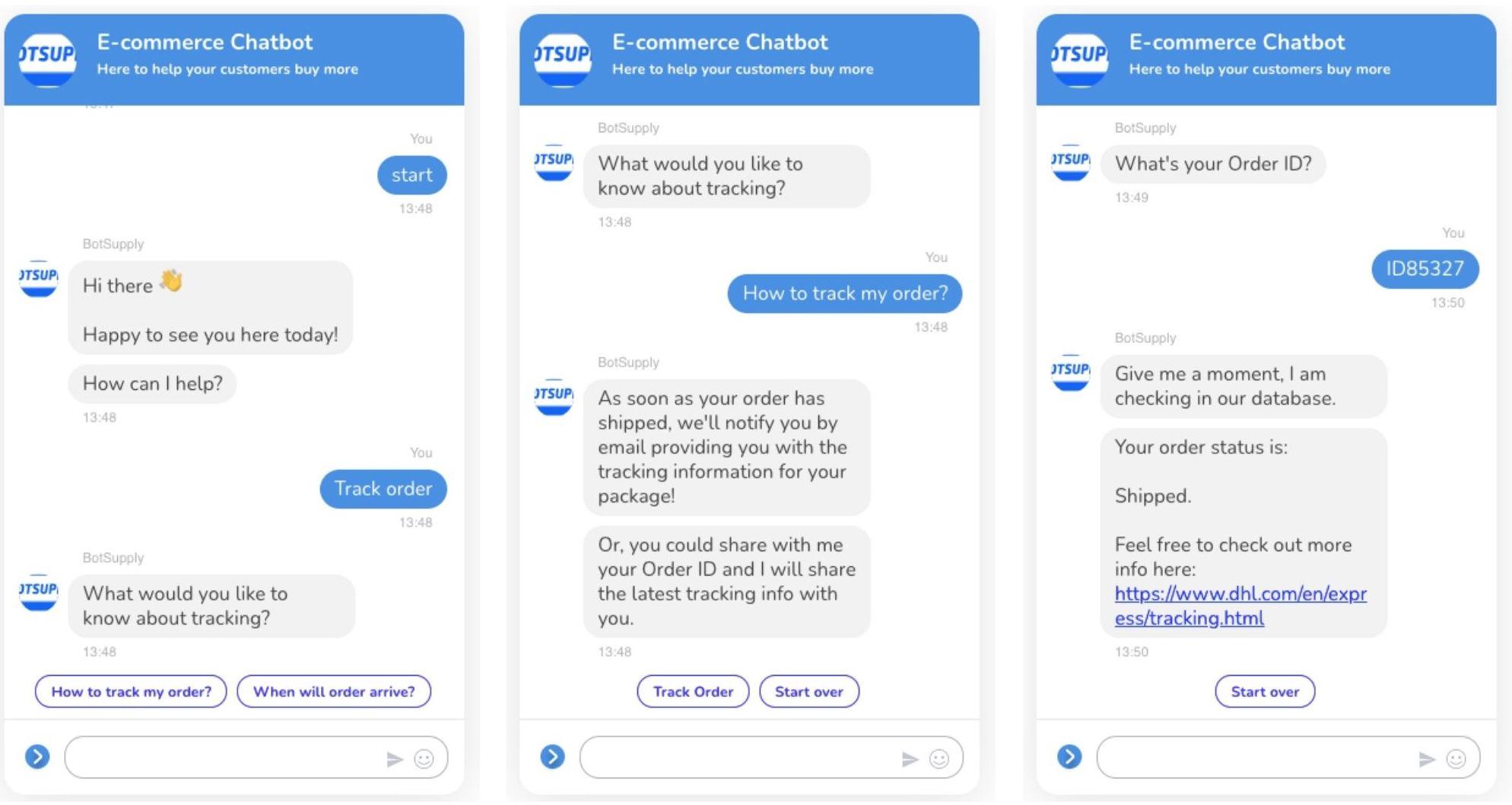 BotSupply E-commerce Chatbot: Tracking Order