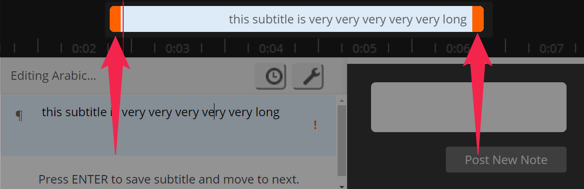 A subtitle with color-coded warning error shown in the beta editor timeline on Amara