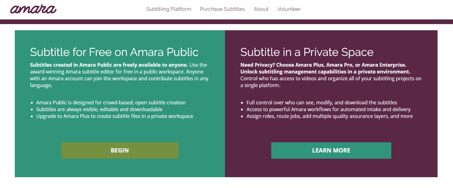 Screenshot of Free or Private Space options