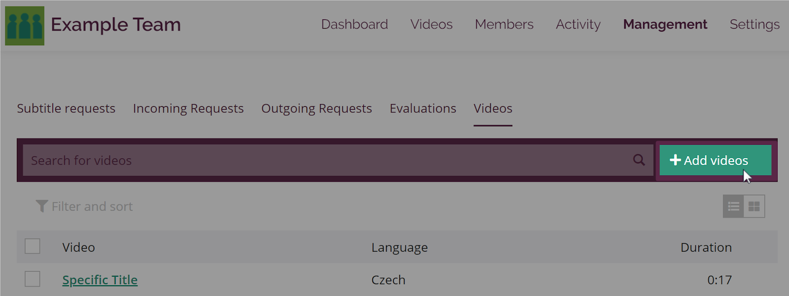 Management page on Collaboration team with Video tab open and Add video link highlighted