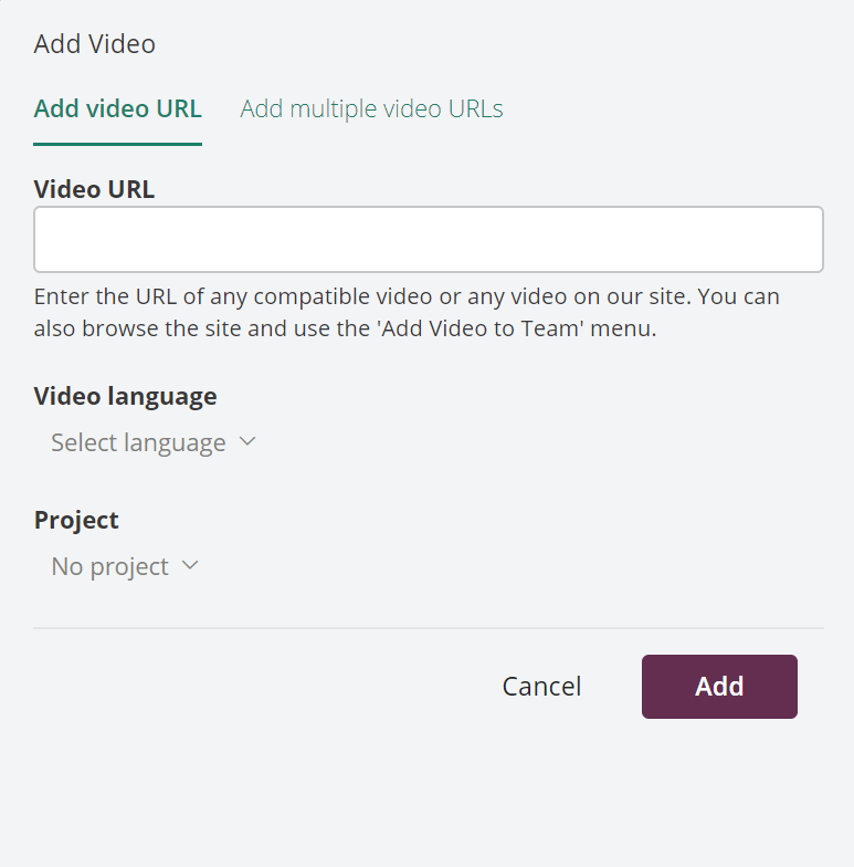 Dialog box for adding a video to a collaboration team on Amara