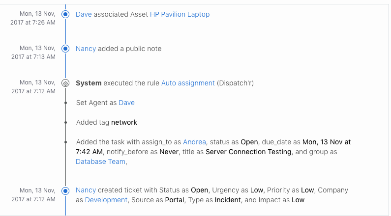 View ticket activity history in your service desk