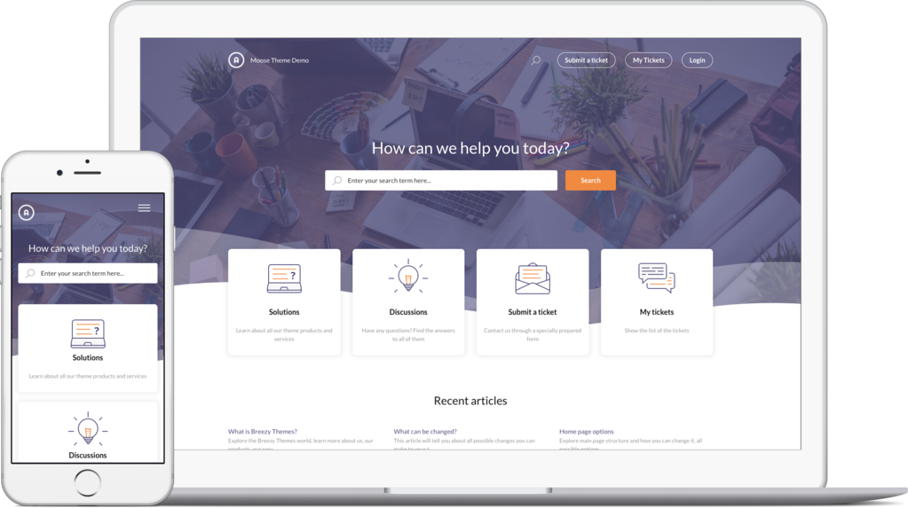 Moose Purple theme for Freshdesk support portal