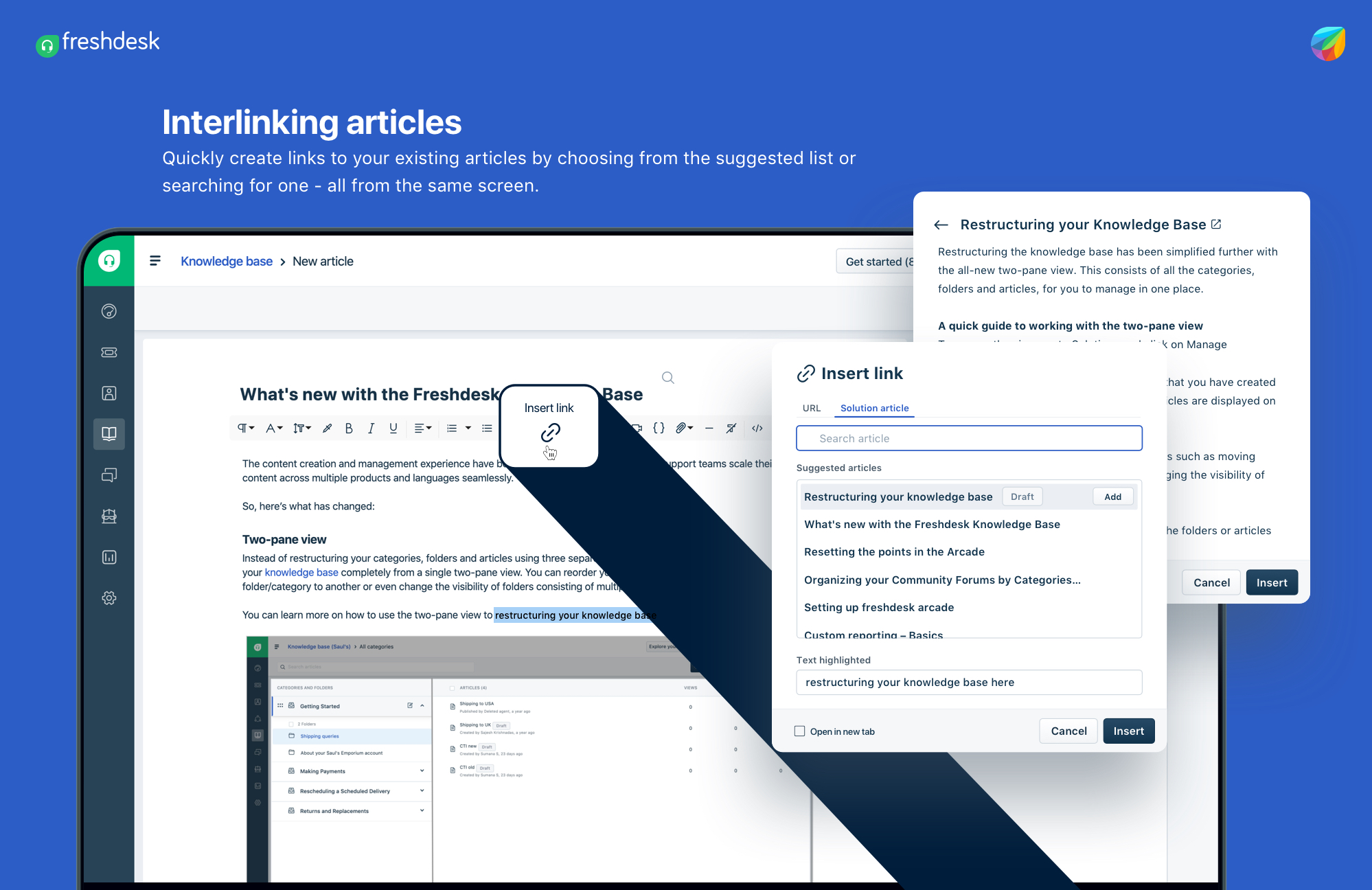 Interlinking articles in Freshdesk Knowledge Base