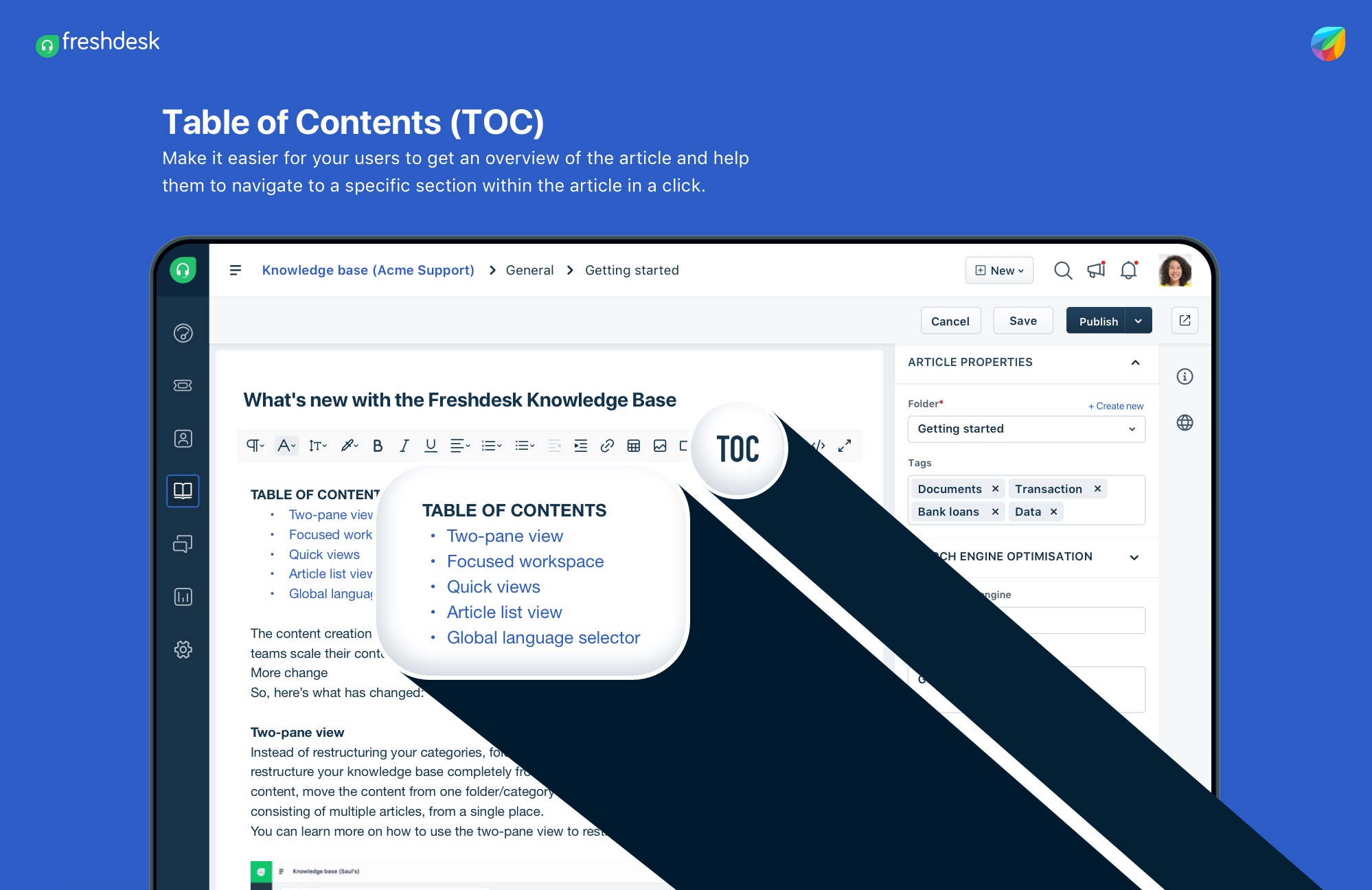 Table of Contents in Freshdesk Knowledge Base