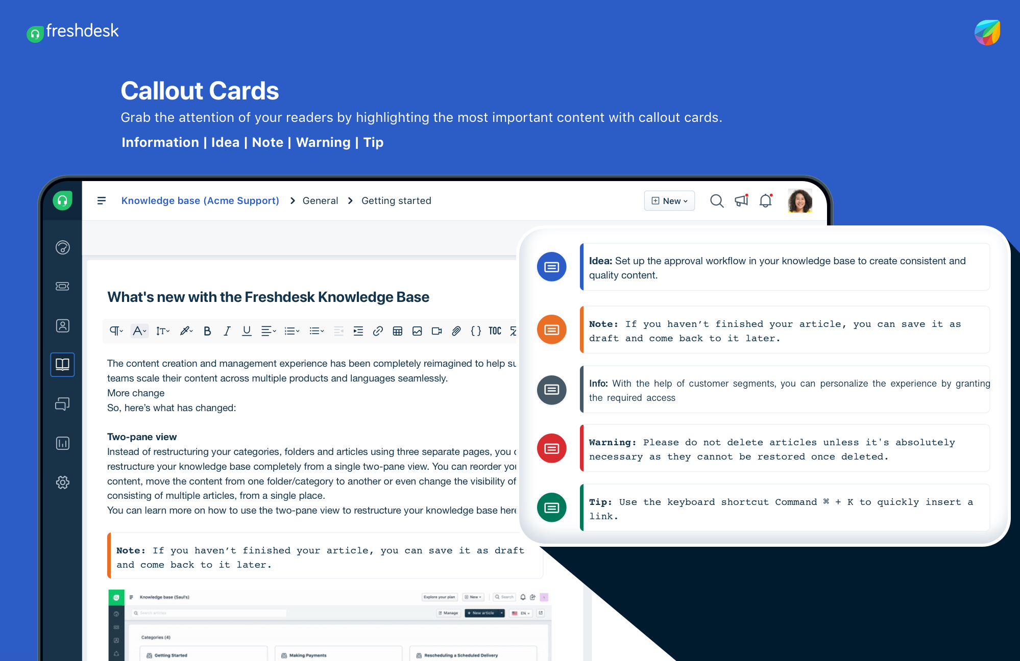 Callout cards in Freshdesk Knowledge Base