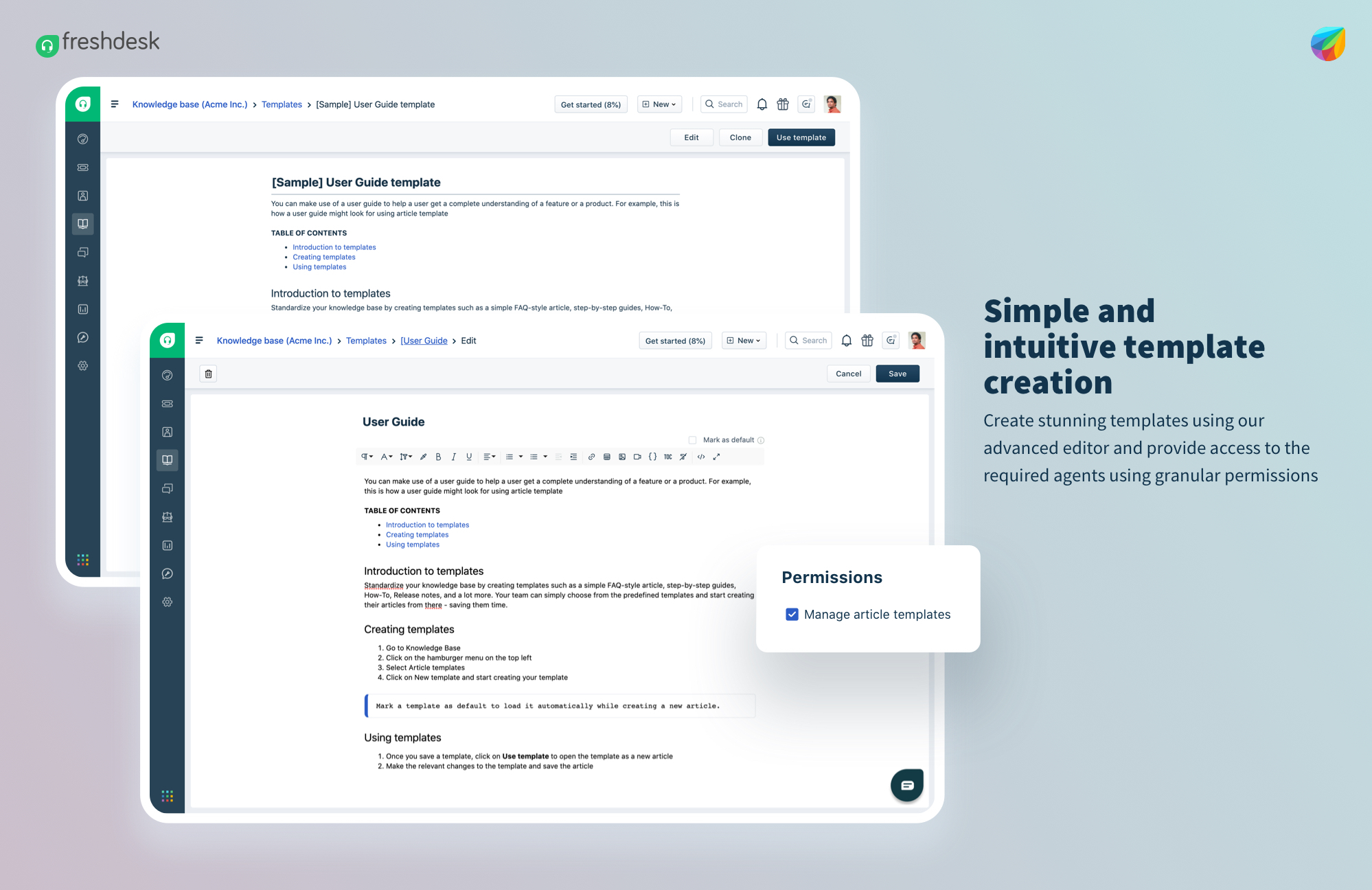 Create Article Templates in Freshdesk