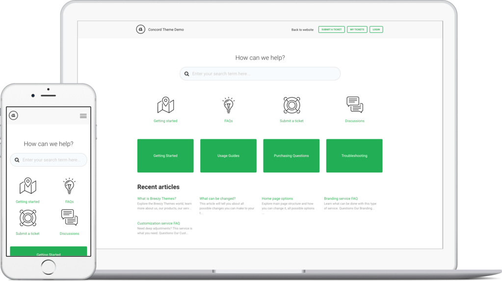 Concord Green template for Freshdesk knowledge base
