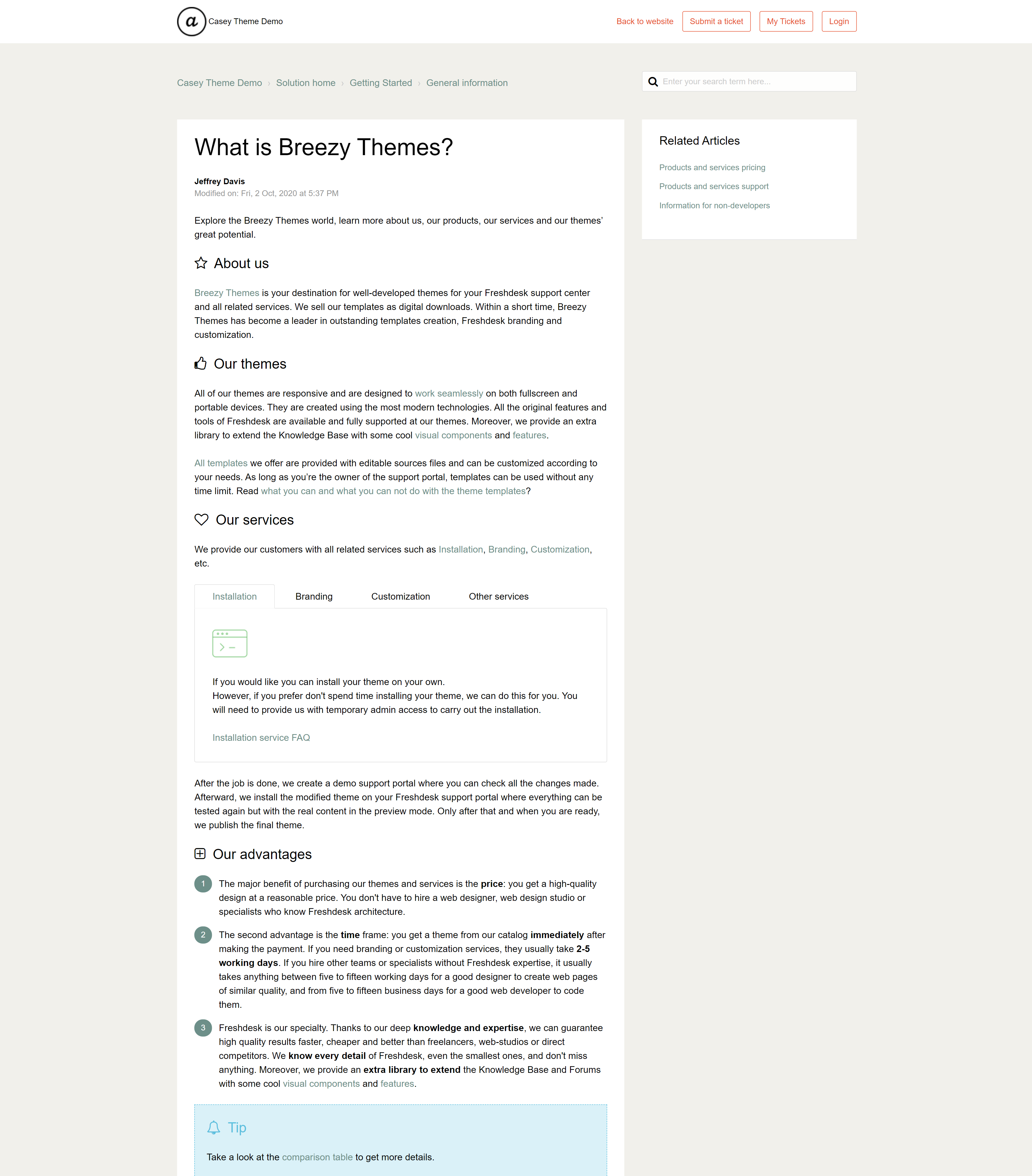 Freshdesk template Casey with formatting components in articles