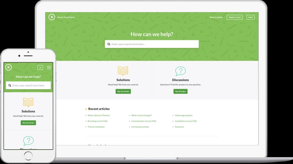 Barren Green Freshdesk customer portal theme