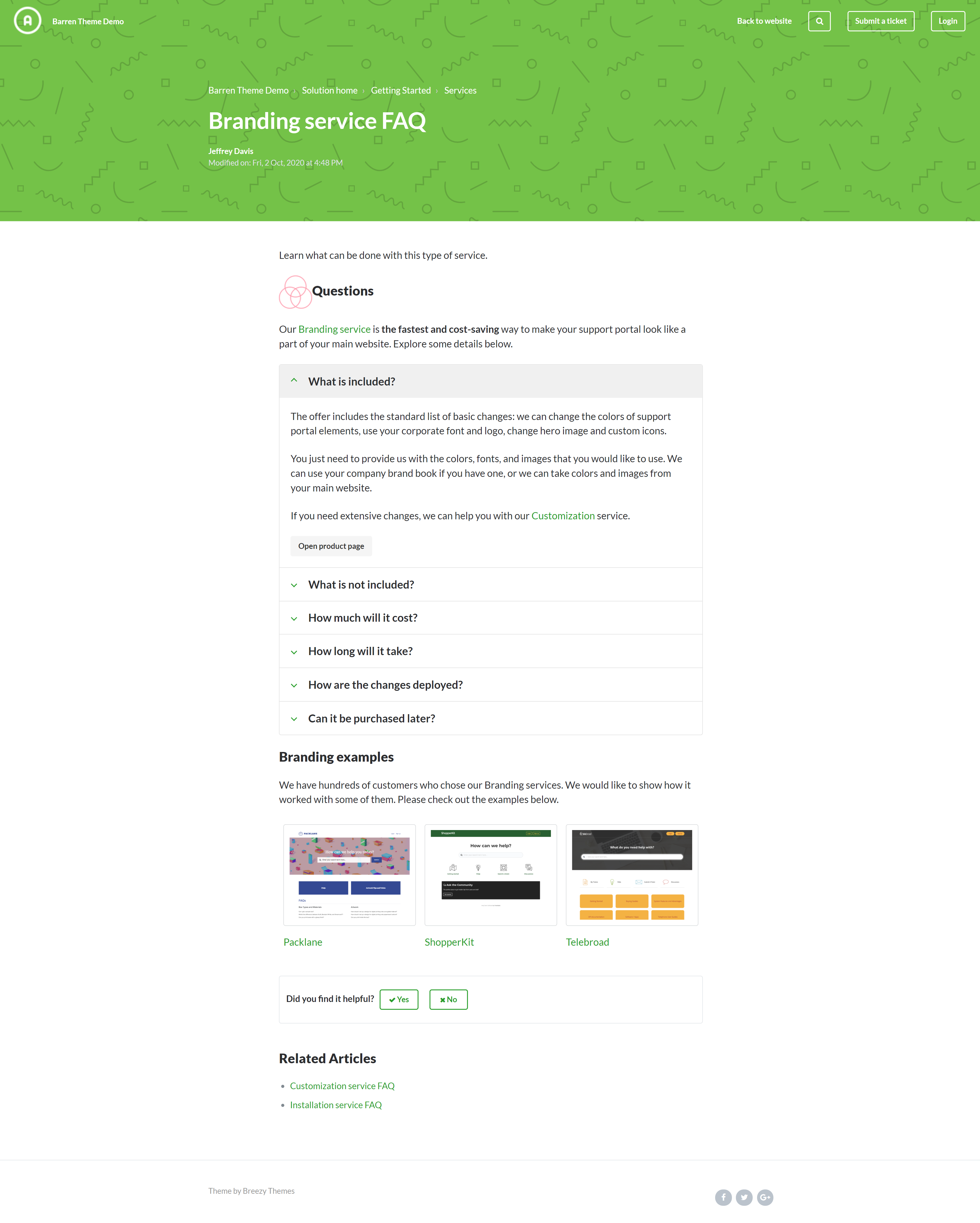 Barren Green Freshdesk customer portal theme with formatting components in articles