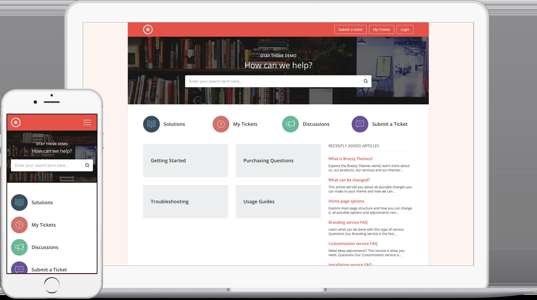 Otay Red Theme for Freshdesk Support Portal