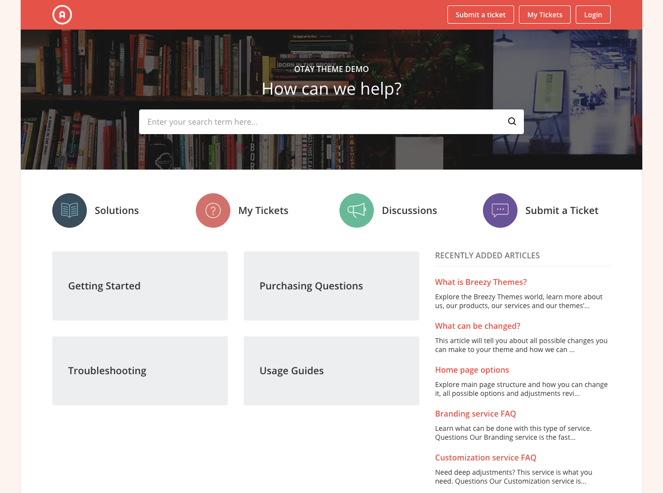 Otay Red Theme for Freshdesk Support Portal Homepage