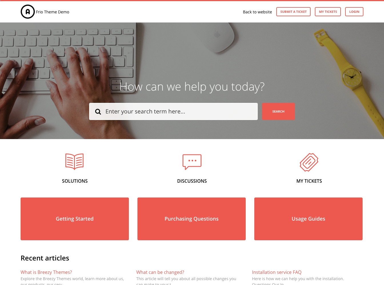 Frio Red Theme for Freshdesk Customer Portal-homepage