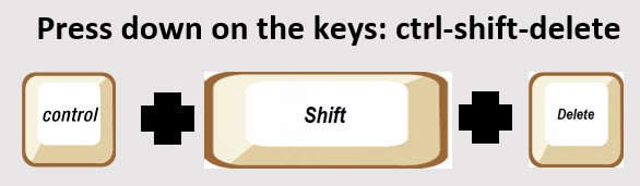 screenshot of the control, shift, and delete key