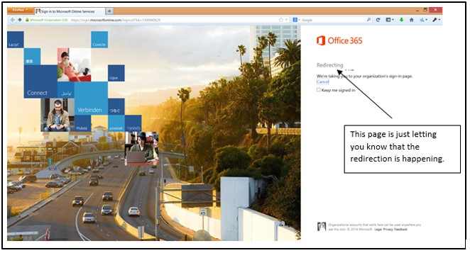 Office 365 Redirecting Message screenshot