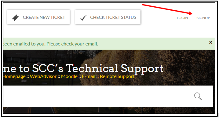 Stanly Community College technical support website with sign up link in the top right