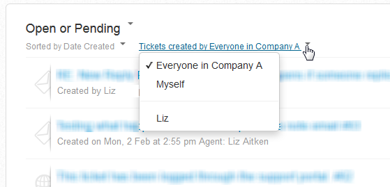 Tickets logged by everyone in my company