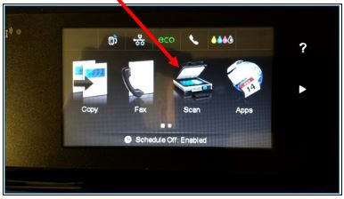 screenshot of printer LCD screen with Scan icon highlighted