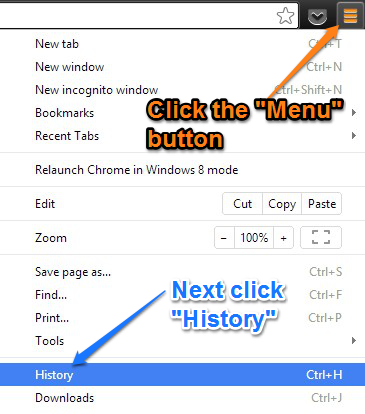 screenshot with the Menu button and the History button highlighted