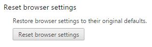 screenshot of Reset browser settings option