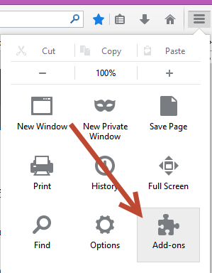 sreenshot of the Firefox Menu open with the Add-ons option highlighted