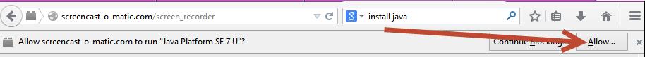 screenshot of window wanting to allow Java