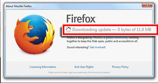 screenshot of Firefox downloading