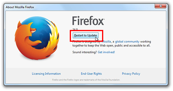 screenshot of Firefox with the Restart to Update button highlighted