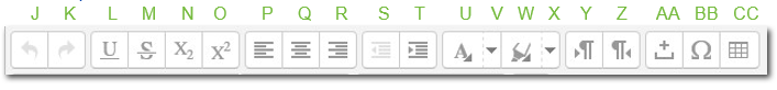 J through CC text editor icons
