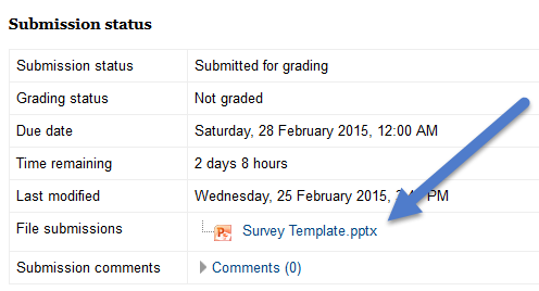 screenshot of example submission that shows the submission status, grading status, due date, time remaining, last modified, file submissions, and submission comments