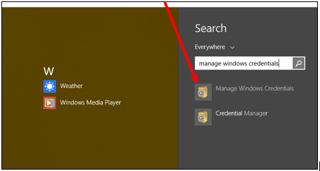 manage windows credentials search results screenshot