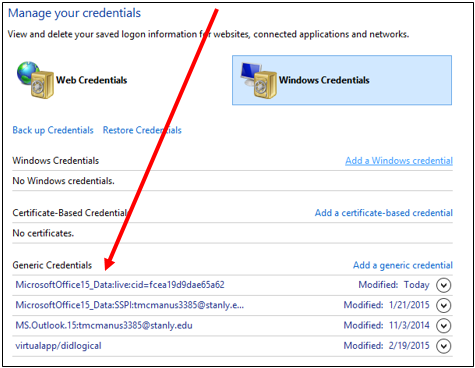 manage your credentials screenshot
