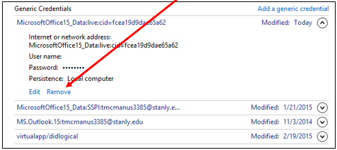 remove button on the manage credentials window