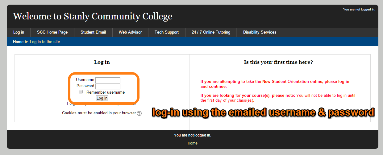 Moodle, log-in using the emailed username and password