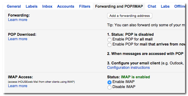 gmail pop settings outlook 2007