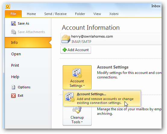 Add Your Gmail Account to Outlook 2010 : iHOUSEweb Support