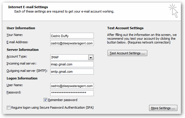Add Your Gmail Account to Outlook 2007 : iHOUSEweb Support
