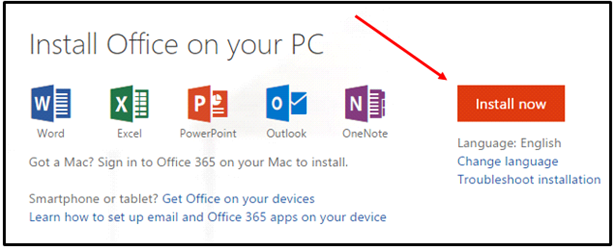 Install Office on your PC now screenshot