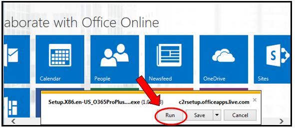 Run pop-up screenshot