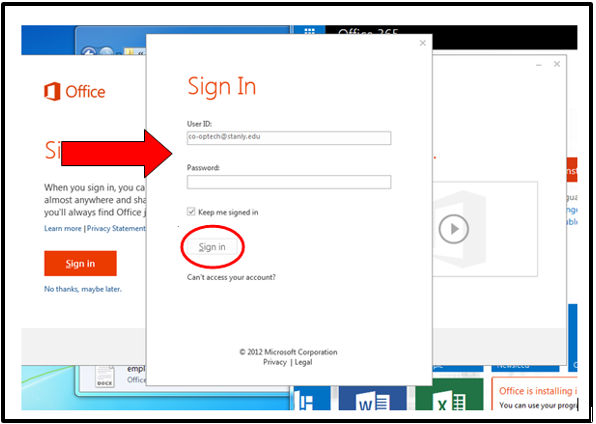 Sign in pop-up screenshot